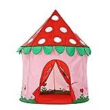 YeahiBaby Kinder Spielzelt Erdbeere Form Prinzessin Spielschloss Zelt Tragbar Spielhaus (Rosa)
