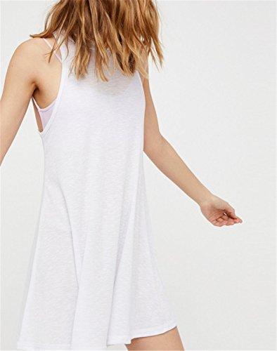 Sexy Sans Manche Racerback Débardeur Vest Mini Courte Nageur Trapèzee de Maternité Dress Robe Blanc