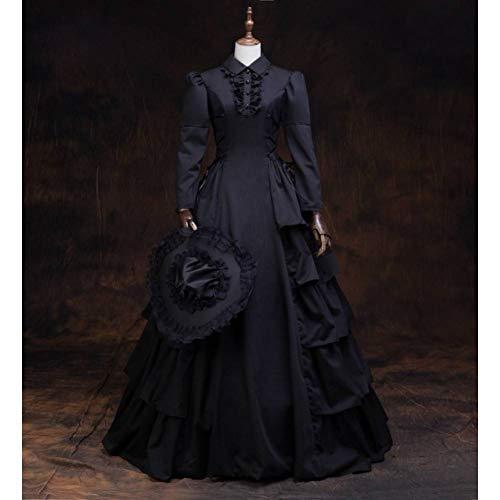QAQBDBCKL schwarzes Rüschenkleid mit Hut Gothic langes Mittelalterkleid Renaissance Spitze Kleid Prinzessin Kostüm Victorian/Marie Antoinette (Marie Antoinette Sexy Kostüm)