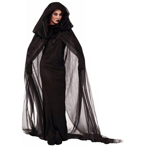 Stilvolle Schwarze voller Länge Kleid Hexe Cosplay Halloween-Kostüm (X-Large)