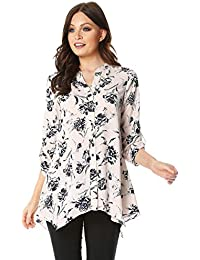 781d603fc4636e Roman Originals Women Floral Print Roll 3 4 Sleeve Shirt - Ladies Longline  Casual Everyday