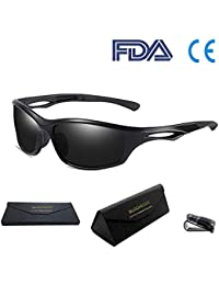 80f54d80096 Bloomoak Cool Sunglasses for Men   Women Polarized Sport Sunglasses UV  Protection TR90 Unbreakable Frame Fit for Day Driving…