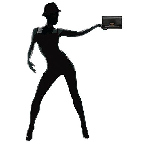 CASPAR TA364 elegante Damen Envelope Clutch Tasche / Abendtasche mit langer Kette und Drehverschluss Schwarz