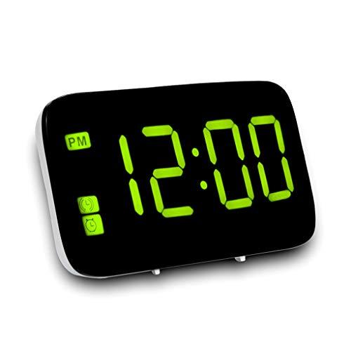 Canmerli Große LED Digital Alarm Snooze Clock Sprachsteuerung Zeitanzeige 5inch Bildschirm USB/Batterieladung (Große Clock Radio Taste)
