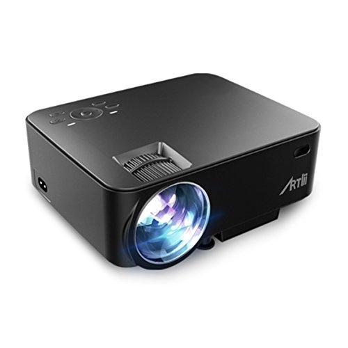 Proyector LED, Artlii 1500 Lumens 1080p Ruido Bajo Mini Proyector LED conectar Consola de juegos/PS4/TV BOX/iPhone/Ordenador de Mesa/Ordenador Portatil o de Escritorio