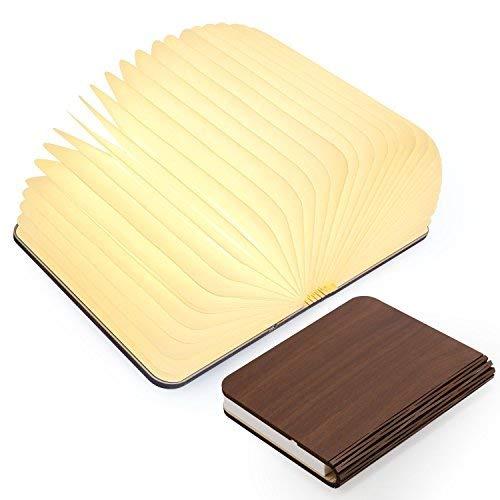 Tragbar Buch LED-faltendes LED Buch Licht Lampen Nachtlicht, TKSTAR hölzernes USB-rechargable Buch geformtes Licht 4 Farben führte Schreibtisch Tabellen Lampe JU-WT102 (Lampe Hölzerne)