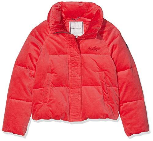 Tommy Hilfiger Mädchen Velvet Puffer Jacke, Rot (Teaberry 616), 176 (Herstellergröße: 16) Rote Puffer