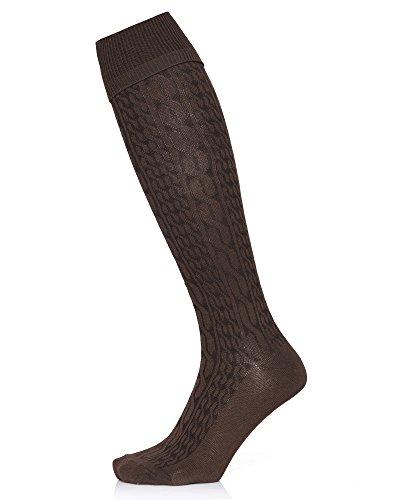 Kendindza Herren Overknee Strümpfe Socken einfarbige Knie-Strümpfe Oktoberfest knie-lang mit Muster (2er Pack, Braun) (Über Knie-bein-wärmer)