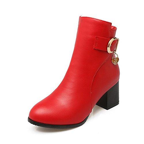 AllhqFashion Damen Mittler Absatz Rund Zehe Reißverschluss Stiefel mit Metallisch Rot