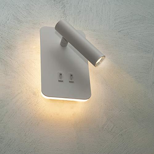Lámpara LED de pared aplique 6 W doble luz mesilla de noche lectura cama 2 en 1 6000K