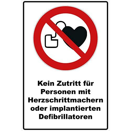 Schild Kein Zutritt für Personen mit Herzschrittmachern oder implantierten Defibrillatoren Schild Verbotszeichen Mehrfarbig 30 x 20 x 0,3 cm Hartschaumplatte