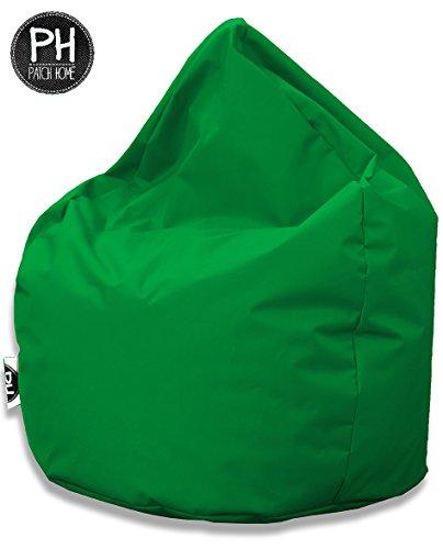 Patchhome Sitzsack Tropfenform Grün für In & Outdoor XL 300 Liter - mit Styropor Füllung in 25...