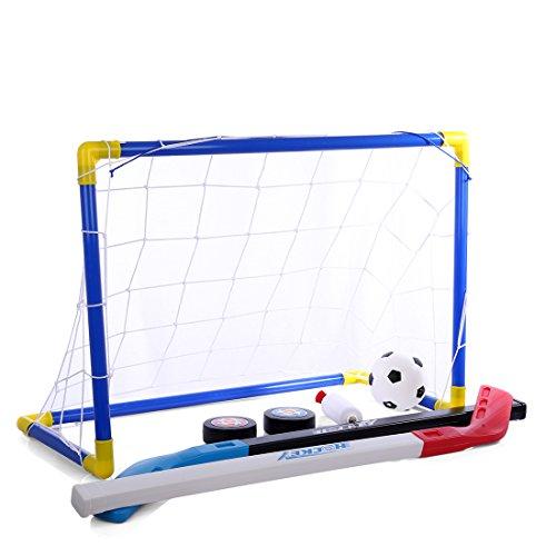 BANDRA Mini Hockey Zielset Klein Fußballtor Set Faltbar Fußballtor Net Trainingsnetz mit Ball und Pumpe für Kinder Kleinkinder Innen Garten Indoor und Draussen Benutzen 59cm x41cmx28.9cm