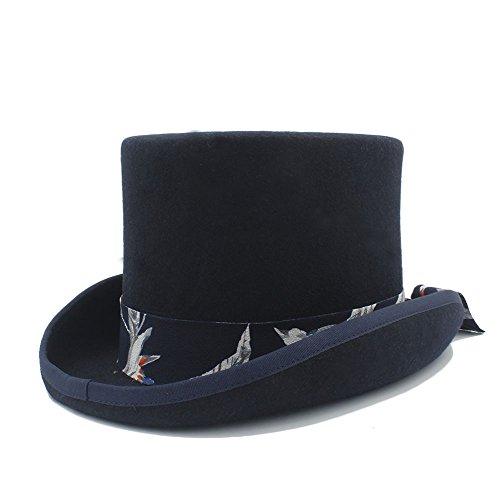 Beck Orlando DIY Steampunk-Hut mit blauem Muster-Tuch-Hut für Frauen-Hut-Kostüm-Hüte Pork Pie Hut (Farbe : Schwarz, Größe : 61CN) (In Orlando Halloween-kostüme)