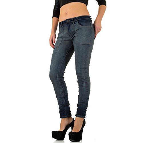 Damen Jeans Used Look Low Skinny Blau 40 (Jeans Rise Bootleg Low)