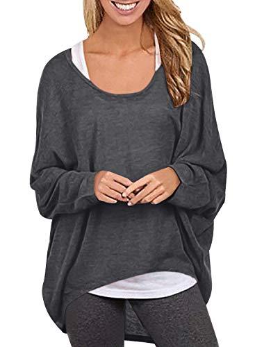 Yidarton Frauen Asymmetrisch Langarm Pullover Pulli Strickjacke Oversized Baggy Lose Jumper T-Shirt Tops Bluse (L, Z-Dunkelgrau) (Asymmetrische Baumwolle Pullover)