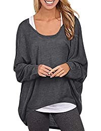 Yidarton Damen Lose Asymmetrisch Sweatshirt Pullover Bluse Oberteile Oversized Tops T-Shirt
