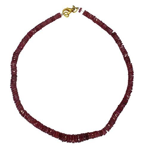 man Natürliche Indisch Rubin Facettiert Reifenform Perlen Einzelner Shade Halskette (Mala Perlen Rubin)