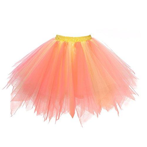 Honeystore Damen's Tutu Unterkleid Rock Abschlussball Abend Gelegenheit Zubehör Gelb und Wassermelonen A520626120110 (Krinoline Petticoat Machen)