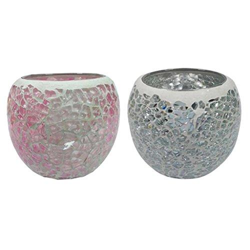 Sharplace 2 STK. Mosaik Teelichthalter Teelicht Halter Windlicht Kerzenhalter Mosaikglas Kugel für Wohnzimmer Schlafzimmer - B + H -