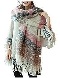 Manta cómoda Weibestshop mujeres tartán chal bufanda caliente de gran tamaño cómodo de la tela escocesa Pashmina comprobado navidello Rosa rosa