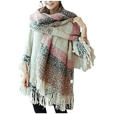Manta cómoda Weibestshop mujeres tartán chal bufanda caliente de gran tamaño cómodo de la tela escocesa Pashmina comprobado navidello Rosa