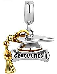 SZKP Encanta granos, S925 plata University Sombrero granos hechos a mano bricolaje Licenciado Gorra pendiente accesorios de joyería compatibles con Pandora y pulseras europeas graduación Regalo Collar