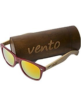 Vento Eyewear® modelo Chinook Red&Orange - Gafas de sol de madera de bambú, diseñadas en Italia con certificados...