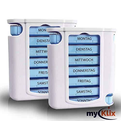 myKlix 2X Praktische Tablettendose - Pillenbox Organizer 7 Tage Aufbewahrung Wochendosierer und Medikamentendosierer - Pillendose Aufbewahrung für unterwegs und zu Hause