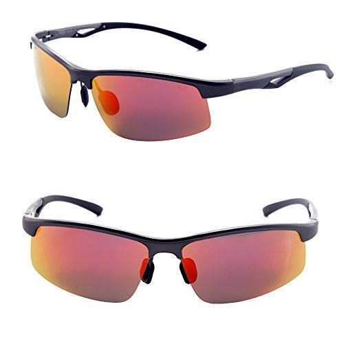 Männer Frauen Stil polarisierte Sonnenbrille Metallrahmen Sportbrillen (Gray, Rot)