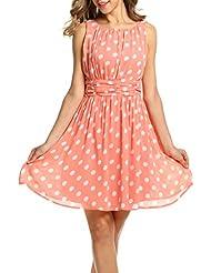 Zeagoo Damen Elegant Cocktailkleid Sommerkleid Partykleid A-Linie Festliches Kleid mit Falten