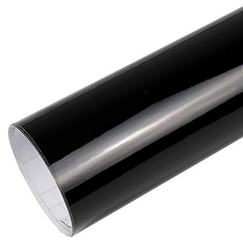 Rapid Teck® PREMIUM – Glanz Schwarz 2m x 1,52m Auto Folie Blasenfrei mit Luftkanälen für Auto Folierung und 3D bekleben in Matt Glanz und Carbon