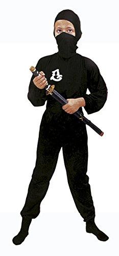 Black Ninja Kostüm Kinder - Blumen Paolo-Black Ninja Kostüm Kinder L (7-9 anni) Schwarz