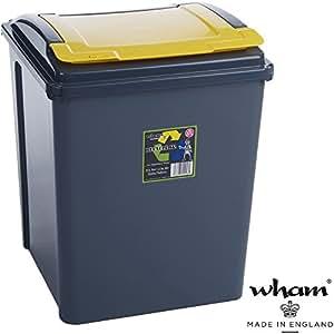 recyclingtonne couvercle amovible 40 x 40 cm 50 l noir jaune gris poubelle 50 l couvercle. Black Bedroom Furniture Sets. Home Design Ideas