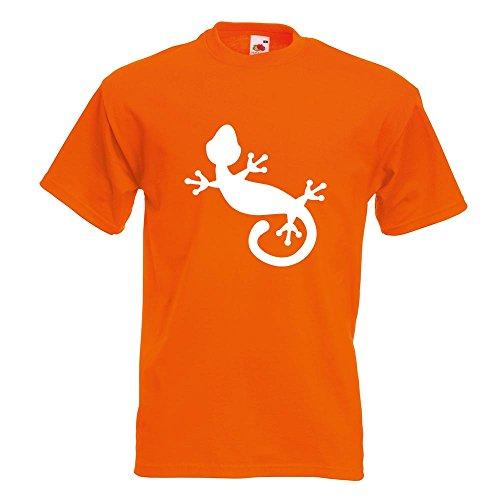 KIWISTAR - Gecko Motiv 1 T-Shirt in 15 verschiedenen Farben - Herren Funshirt bedruckt Design Sprüche Spruch Motive Oberteil Baumwolle Print Größe S M L XL XXL Orange