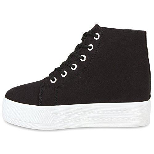 Damen Plateau Sneaker-Wedges Helle Sohle Sneakers Keilabsatz Schwarz Schwarz