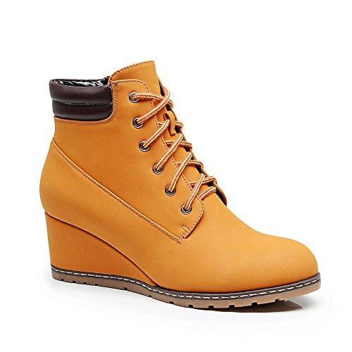 Cestfini Anjou Femme Damen Keil Leder Stiefel, Casual Hoher Absatz Schnürstiefeletten für Frauen TM2-Gelb-38 (Keil Hohe Stiefel)