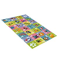 Kids Carpet Children Learning Rug with ABC,Numbers and Shapes,Educational Area Rug Carpet for Bedroom and Playroom,Safe and Fun Playtime Rug for Kids