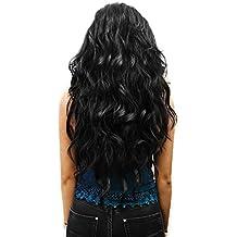 Extensión de cabello Clip-In en marron Set de 7 Extensiónes à 60 cm rizadas resistentes al calor