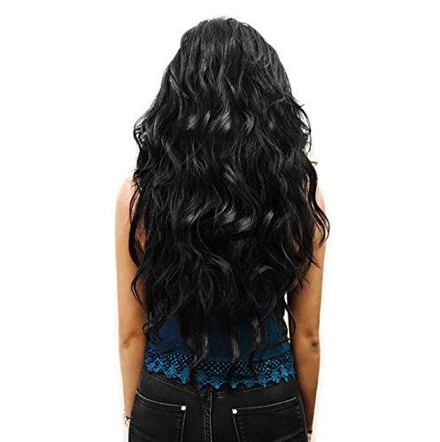 Haarextension schwarz Haarverlängerung ClipIn Extensions Set 7 Haarteile 60cm gelockt hitzebeständig