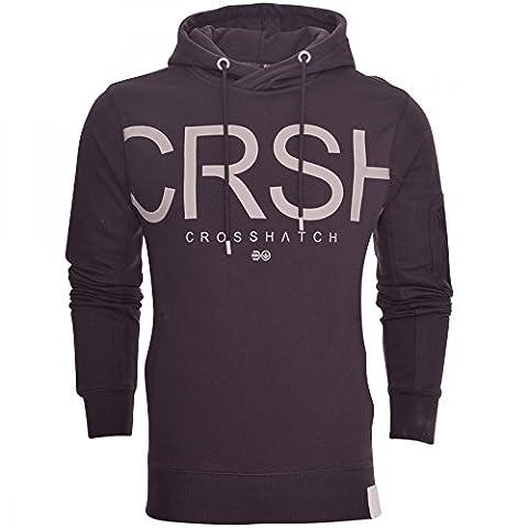 Crosshatch Mens Designer Casual Hooded Logo Top Hoody Fleece Sweatshirt Jacket Large Dark Grey