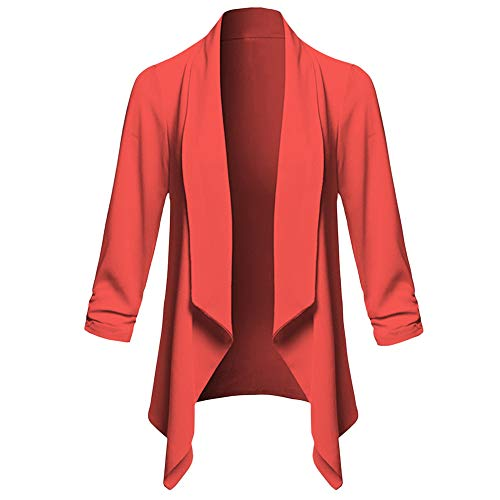 BHYDRY Womens Solid Open Front Cardigan Long Sleeve Blazer Casual Jacket Coat(EU-46/CN-3XL,Rot) -