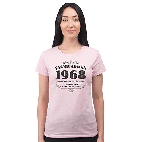 Bang Tidy Clothing Camiseta de Mujer para Regalo de 50 cumpleaños Manufactured 1968 en Rosa Talla XL