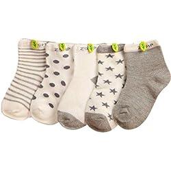 K-youth® Pack de 5 Pares Niños Niñas Cómodo Calcetines De Algodón para Bebé 0-10 Años (Gris, 0-1 Años)