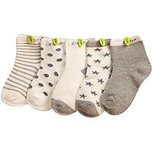 K-youth® Pack de 5 Pares Niños Niñas Cómodo Calcetines De Algodón para Bebé 0-10 Años