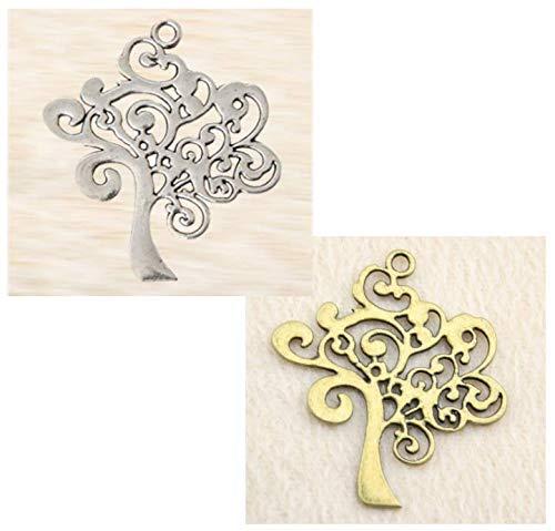 12 pezzi ciondolo albero della vita decorazione bomboniera pendente in metallo (argento)