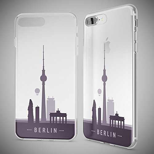 iPhone 8 Plus / 7 Plus Hülle Handyhülle von NICA, Slim Silikon Motiv Case Crystal Schutz Dünn Durchsichtig, Etui Back-Cover Transparent Bumper für Apple iPhone 7+ / 8+ - Transparent Berlin Skyline