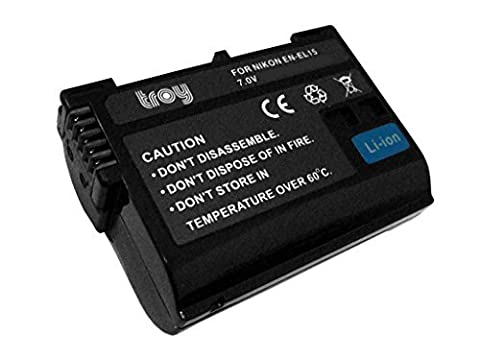 Troy-Akku für Nikon EN-EL15 Li-Ion passend für Nikon D7000 D7100 D600 D800 1 V1 D7200 D810 D810A D750 mit InfoChip