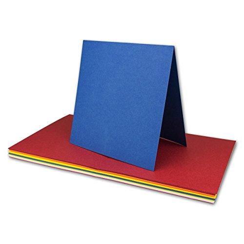 50x farbig gemischte Faltkarten // quadratisch // 150 x 150 mm // Farben-Mix // Verschiedene Ausführungen // MARKE GUSTAV NEUSER - Farbenfroh
