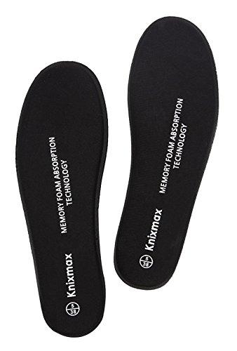 Knixmax Plantillas Memory Foam para Zapatos de Mujer, Plantillas Confort Amortiguadoras Cómodas y Flexibles para Trabajo, Deportes, Caminar, Senderismo,Negro 39EU